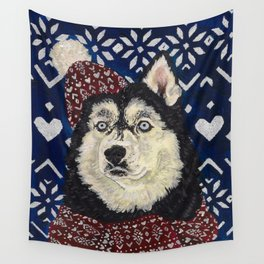 Husky in a Hat and Scarf Wall Tapestry