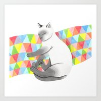Siamese cat sleeping on a quilted blanket Art Print