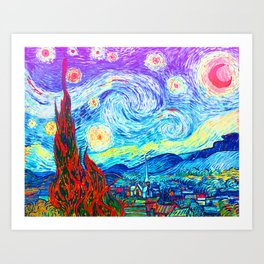 Psychedelic Starry Night Abstract Van Gogh Art Print