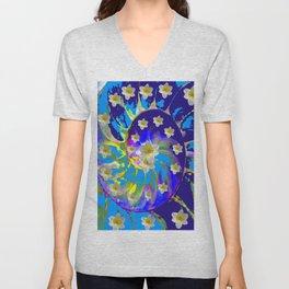MODERN ART GARDEN BLUE SPIRAL &  DAFFODILS ART Unisex V-Neck