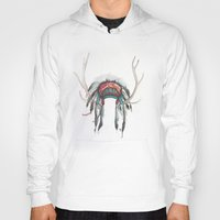 headdress Hoodies featuring Antler Headdress by Nicole Gaitan