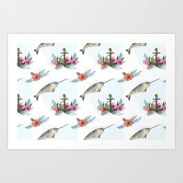 Summertime Nautical Narwhal Art Print