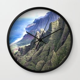 Hawaii's BREATHTAKING Na Pali Coastal Cliffs Wall Clock