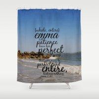 emma watson Shower Curtains featuring Emma  by KimberosePhotography