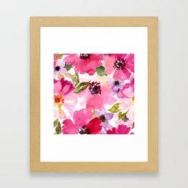 Watercolor Flowers Pink Fuchsia Framed Art Print