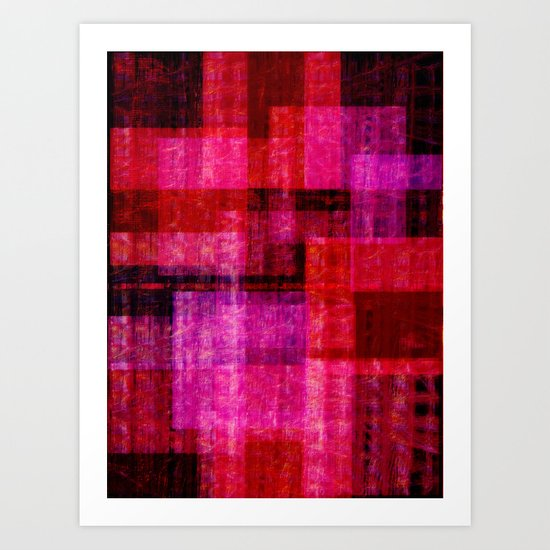 Abstract ~ Pink Red Black Art Print