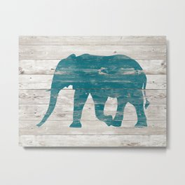 Rustic Teal Elephant on White Painted Wood A222a Metal Print