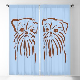 Brussels Griffon (Blue and Brown) Blackout Curtain