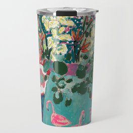 Wild Flowers in Flamingo Vase Floral Painting Travel Mug