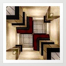 3D abstract geometrical digital art Art Print