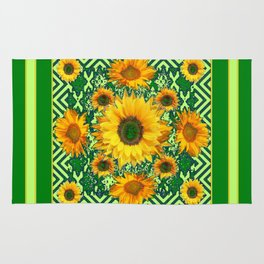 Green Color & Yellow Sunflowers Garden Pattern Art Rug