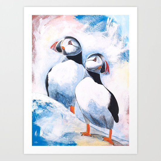 Puffins - I watch over you, little brother - by LiliFlore Art Print