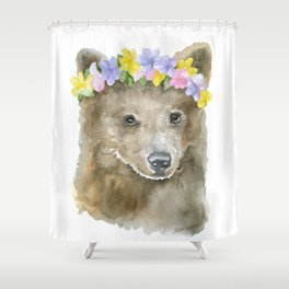 Brown Bear Floral Watercolor Shower Curtain