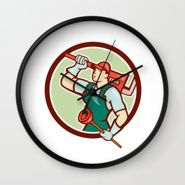Plumber Holding Wrench Plunger Circle Cartoon Wall Clock