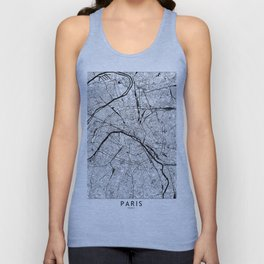 Paris Black and White Map Unisex Tank Top