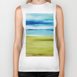 Green Blue Abstract Biker Tank