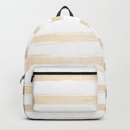 Simply Brushed Stripes White Gold Sands on White Backpack