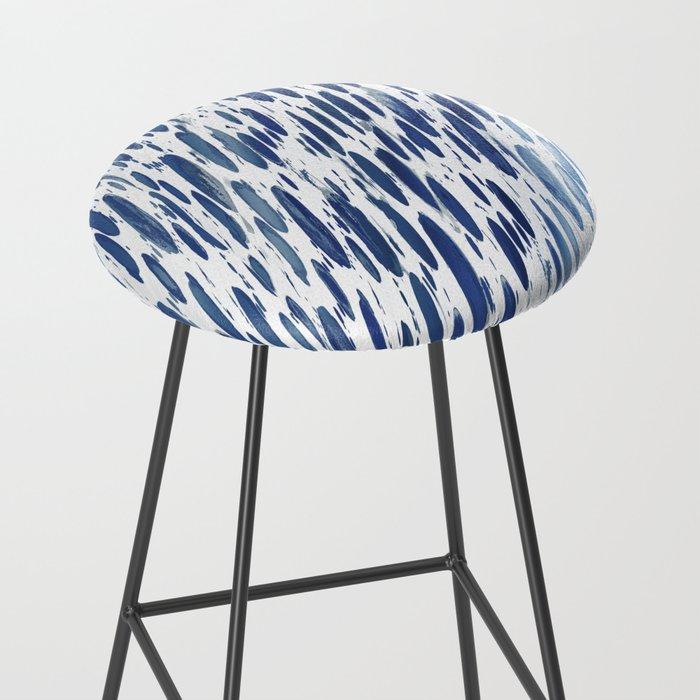 Boho Blue Brushstroke Bar Stool