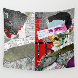 Nikola Portrait Collage Art Wall Tapestry