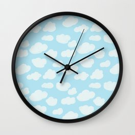 Happy Clouds - Blue and White, Sky Pattern Wall Clock