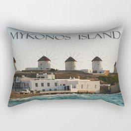 Picturesque Windmills on Mykonos Island Greece Rectangular Pillow