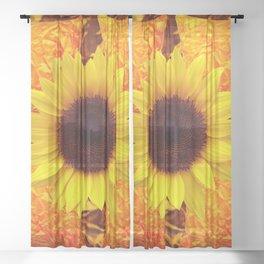 GOLDEN SUNFLOWER GOLD PATTERN ART Sheer Curtain