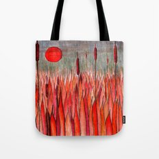 Sunset Over the Cattail Field Tote Bag