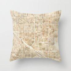 Tucson Arizona watercolor map Throw Pillow