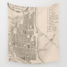 Vintage Map of Veracruz Mexico (1764) Wall Tapestry