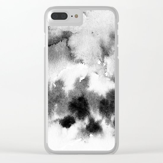 MINIMAL BLACK AND WHITE SPLATTER PATTERN Clear iPhone Case