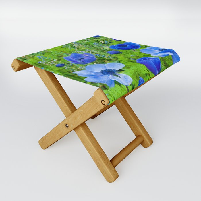 Spring Blues Folding Stool
