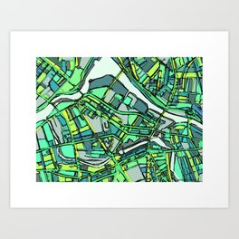 Abstract Map- Lowell MA Art Print