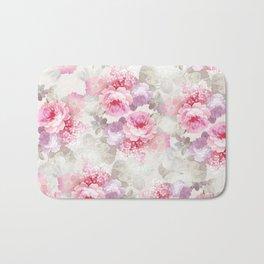 Elegant blush pink lavender ivory romantic roses floral Bath Mat