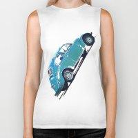 volkswagon Biker Tanks featuring Blue VW Bug by Regan's World