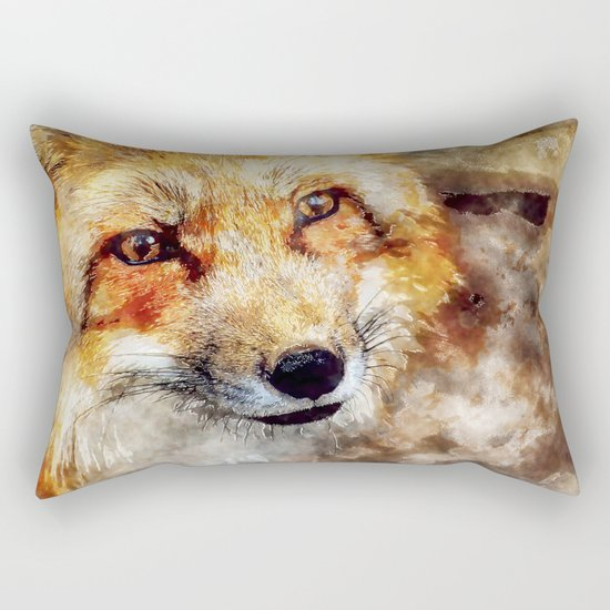Fox animal nature wild forest-  watercolor illustration Rectangular Pillow