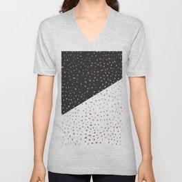 Speckled Rose Gold Flakes on Black White Geometric Unisex V-Neck