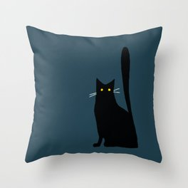 Black Cat with Tall Tail Throw Pillow