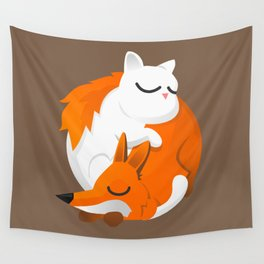 Fox and cat Wall Tapestry
