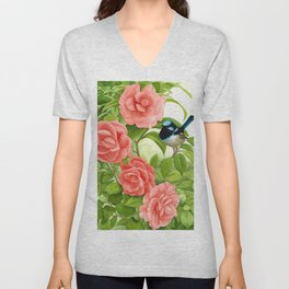 Superb Wren and Camellias Watercolor Painting Unisex V-Neck