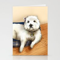westie Stationery Cards featuring Dexter the Westie in His Doggie Bed by Circus Dog Industries