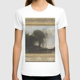 Jean-Baptiste-Camille Corot - Wooded Landscape with Figures T-shirt