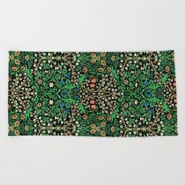 William Morris Jacobean Floral, Black Background Beach Towel