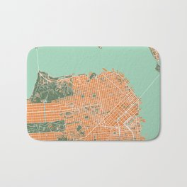 San Francisco city map orange Bath Mat