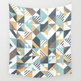 Squares and stripes geomertic pattern Wall Tapestry