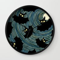bats Wall Clocks featuring Bats by Rceeh