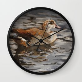 Swimming Duck Oil Painting Wall Clock