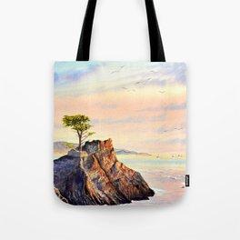 Pebble Beach Lone Cypress Tree Tote Bag