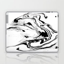 Yumiko - black and white spilled ink abstract painting marble texture pattern marbling marbled paper Laptop & iPad Skin