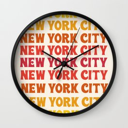 New York City - throwback 70's style colorful typography minimal decor art 1970s Wall Clock