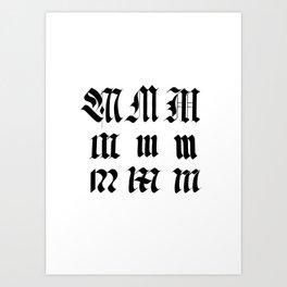 M Letter Fraktur Alphabet Calligraphy Art Print